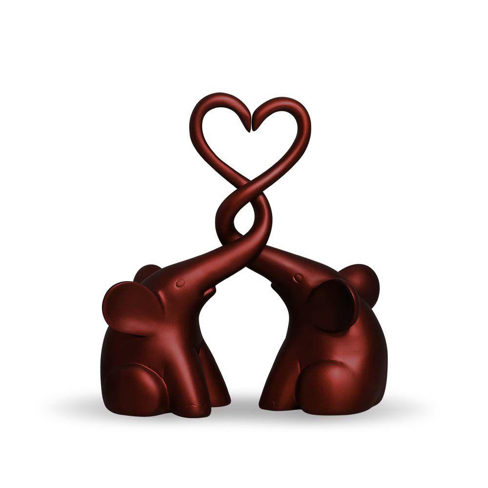 Casal De Elefantes Coração Vinho Sensation