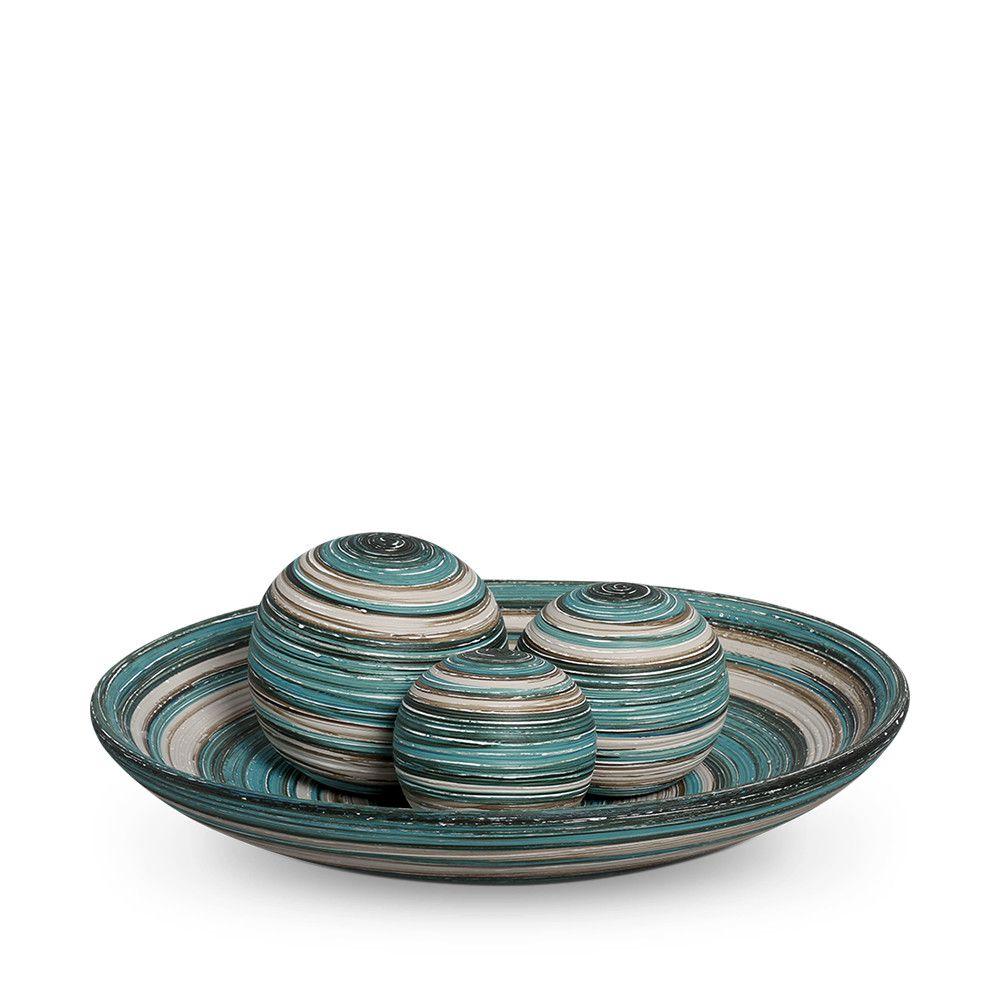 Prato Decorativo Cerâmica com Esfera Decoração Sala Bacia Azul e Palha Marrakesh