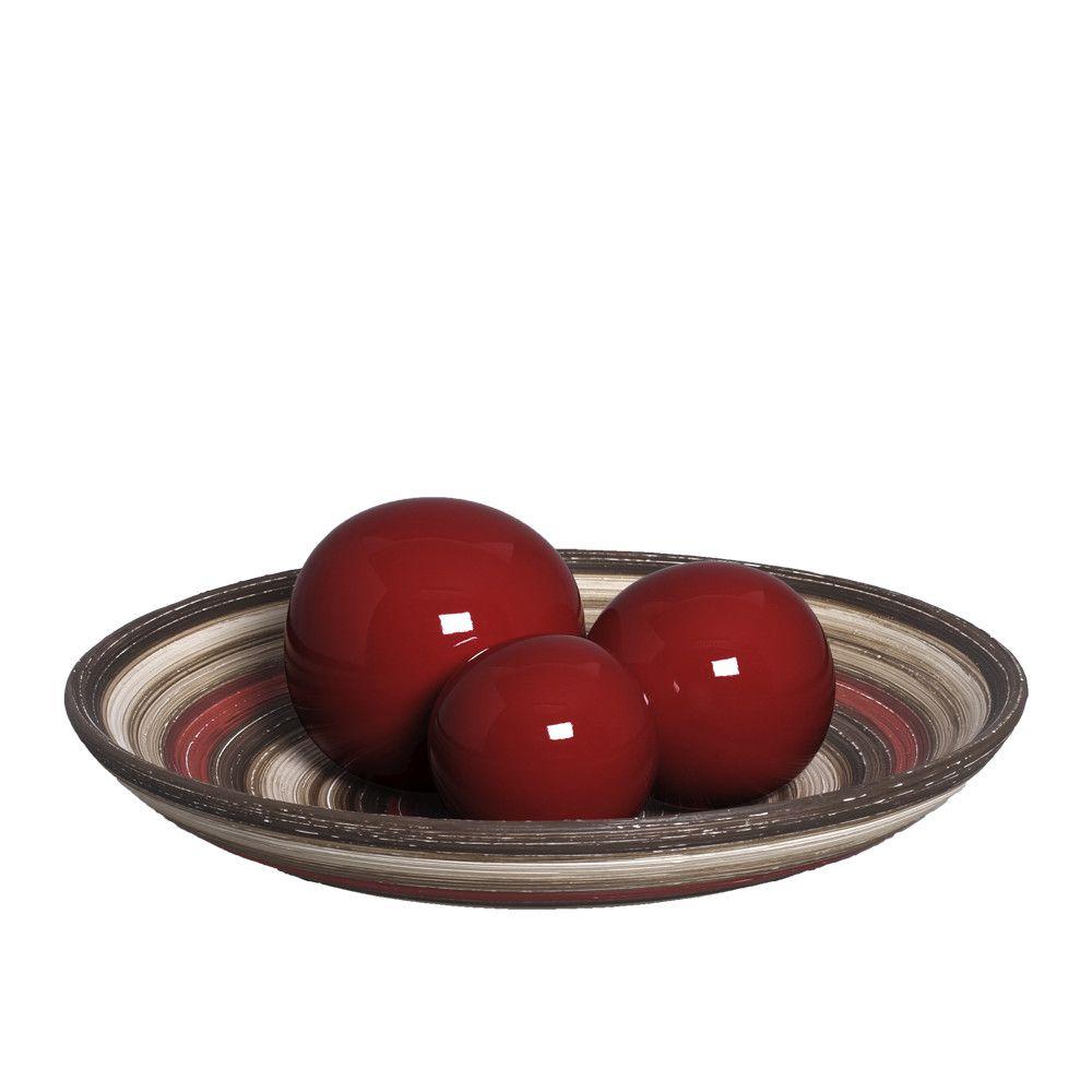 Centro de Mesa Bacia com Esferas Vermelho e Marrom Terracota