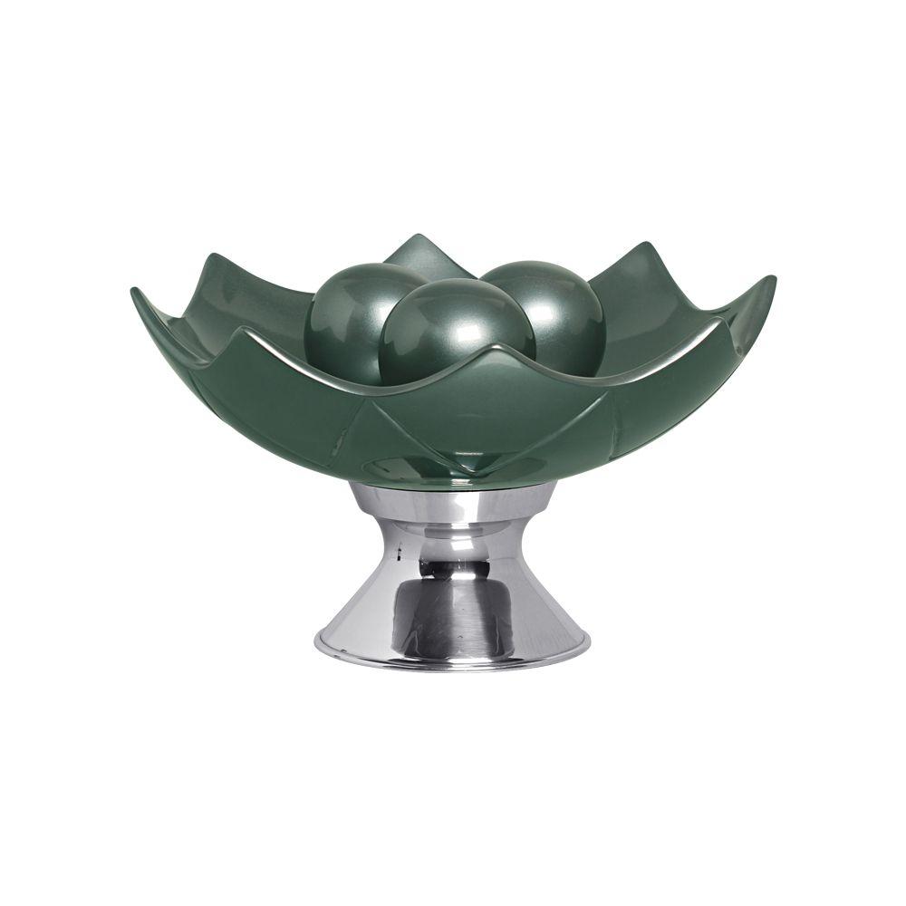 Centro De Mesa Berlim Com Esferas Em Cerâmica Verde Perolado