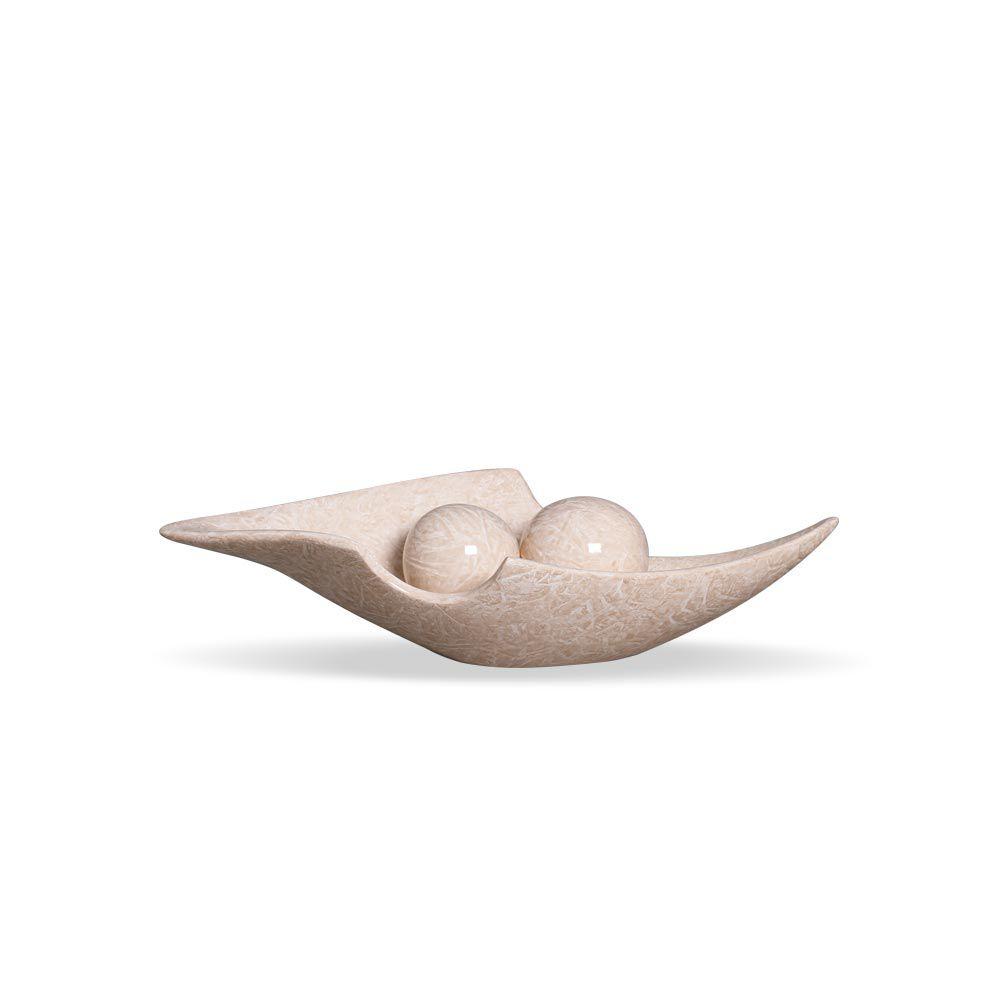 Centro De Mesa Canoa Esferas Cerâmica Bege Marmorizado Petra