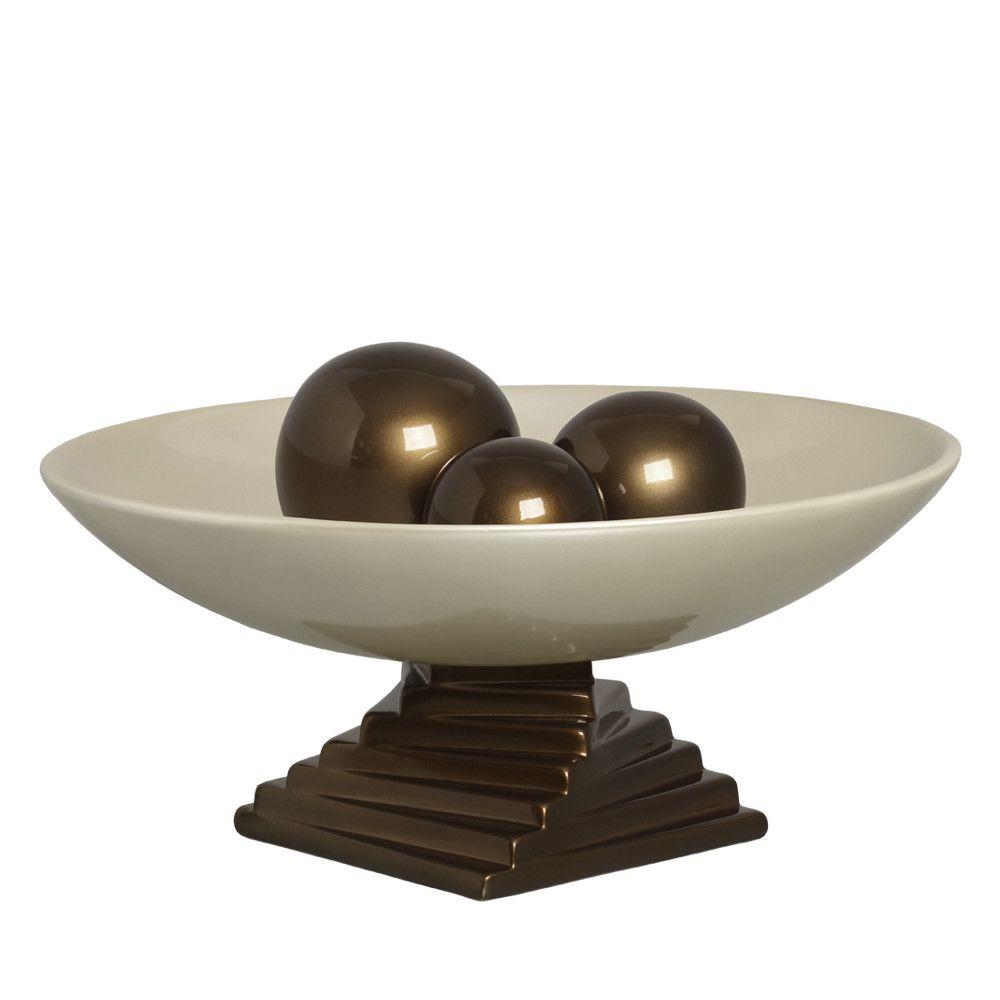 Centro De Mesa Madri Esferas Cerâmica Fendi E Marrom Capuccino