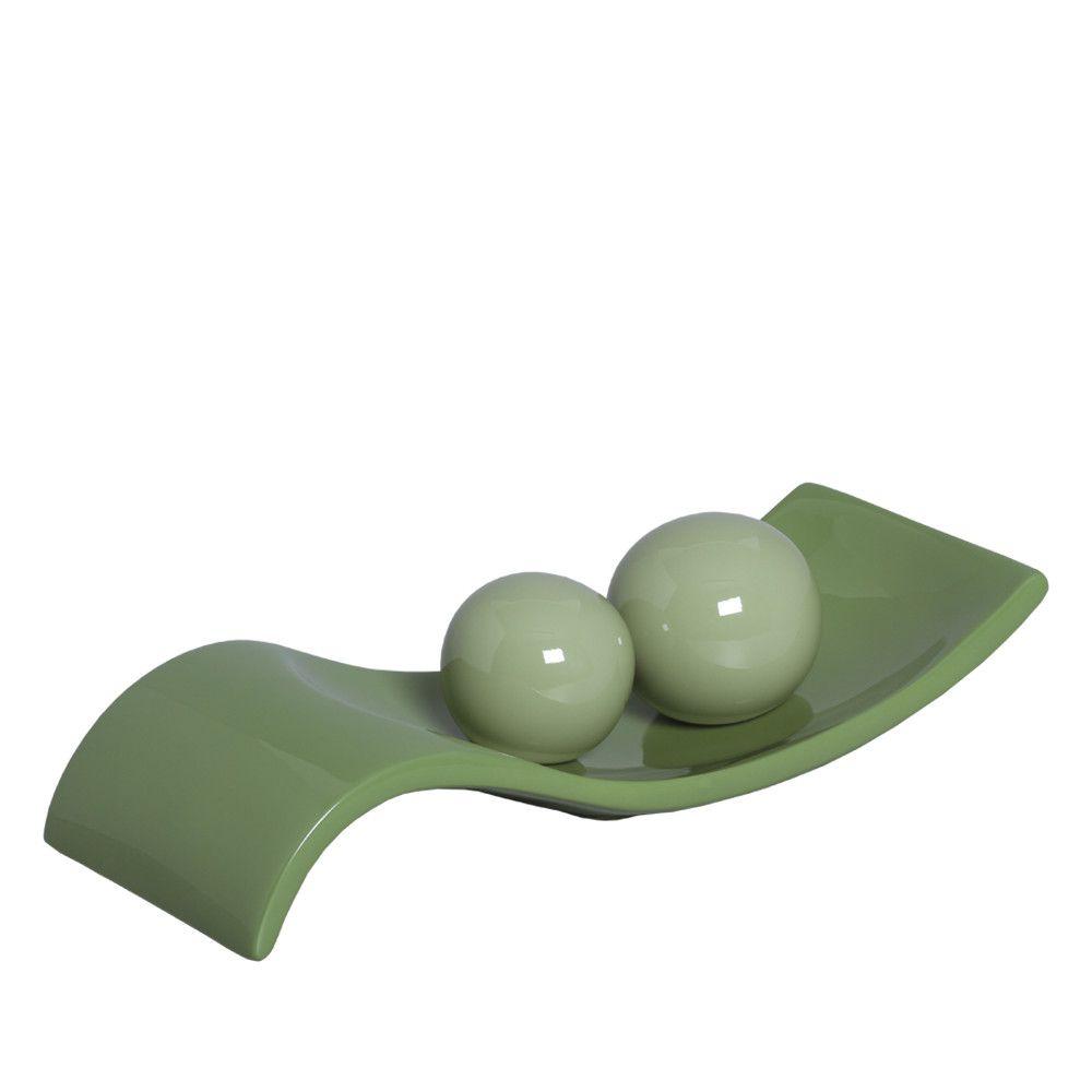 Centro de Mesa Safira P com Esferas Decoração em Cerâmica Verde