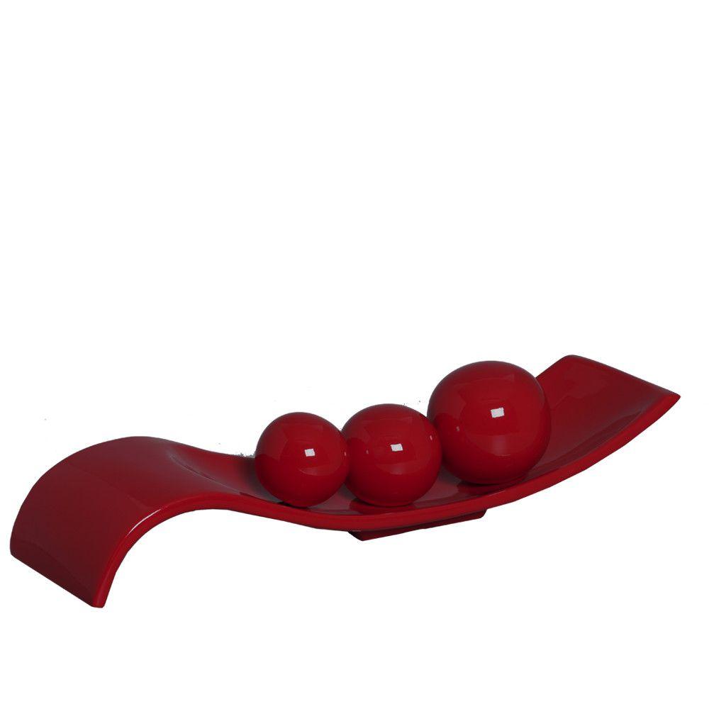 Centro De Mesa Safira Com Esferas Decoração Cerâmica Vermelho
