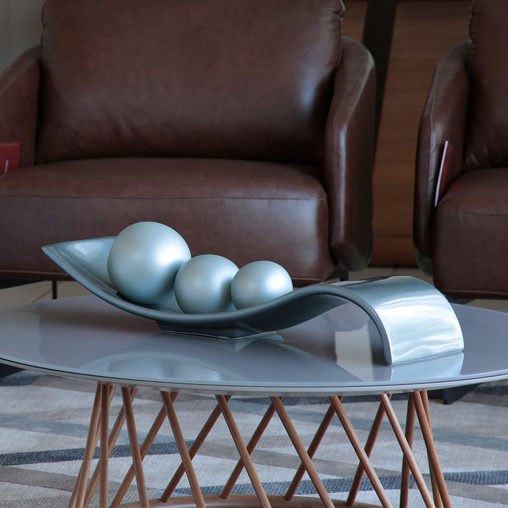 Prato Decorativo Cerâmica com Esfera Decoração Sala Safira Cinza Fosco