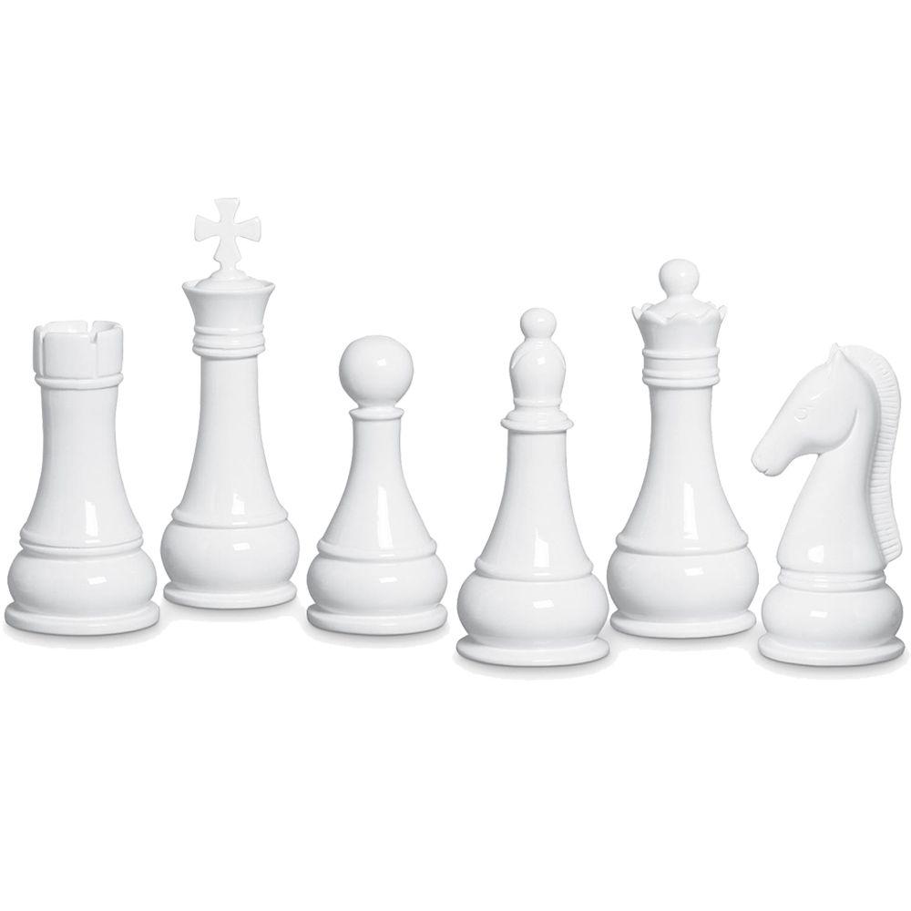 Kit Peças De Xadrez Enfeite De Mesa Cerâmica Clássica Branca