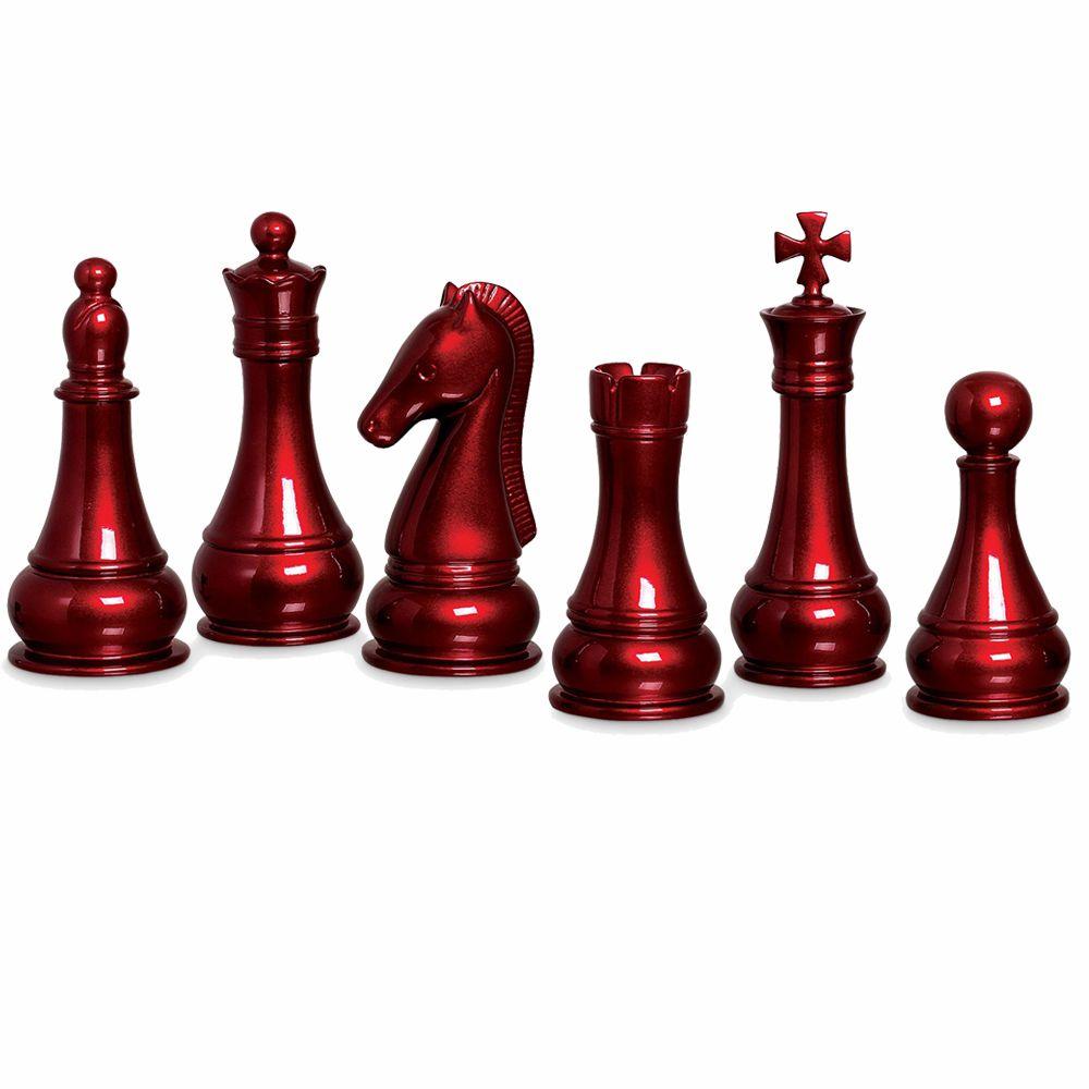 Conjunto Peças de Xadrez Decoração em Cerâmica Vinho Scarlet