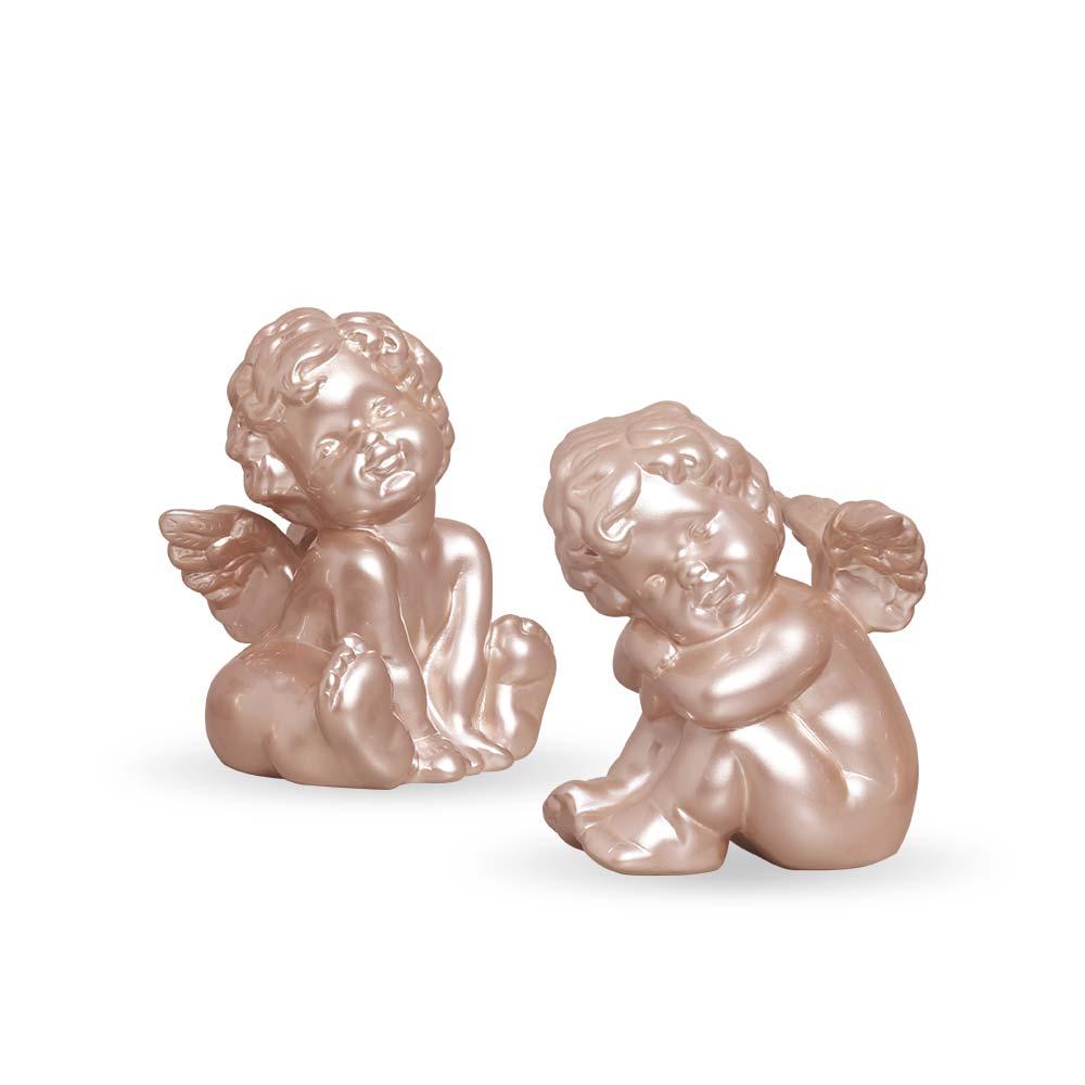 Dupla Esculturas Anjinhos Enfeite De Mesa Cerâmica Rose