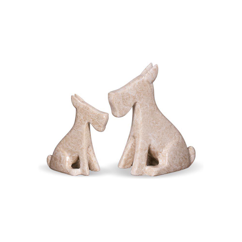 Dupla Cachorrinho Decoração Cerâmica Bege Marmorizado Petra