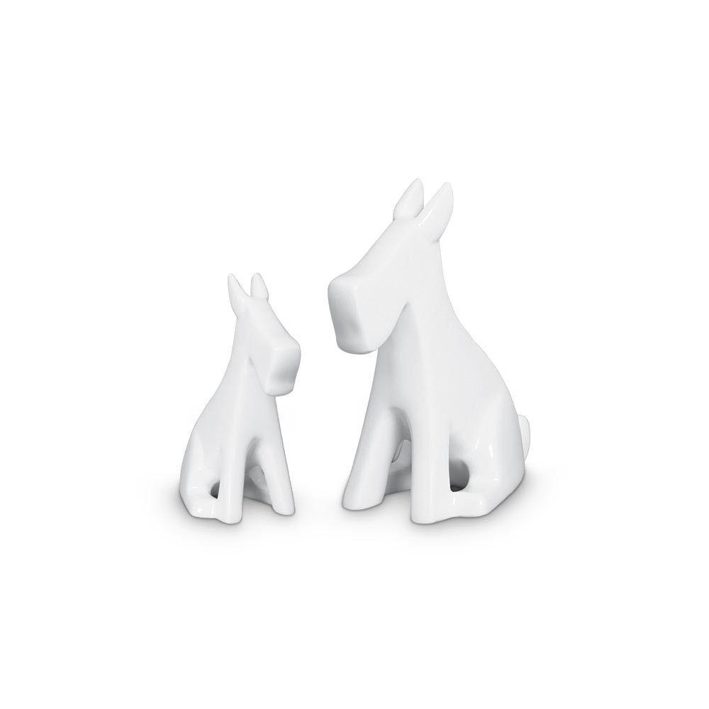 Dupla Escultura Cachorrinho Decoração Cerâmica Clássica Branca