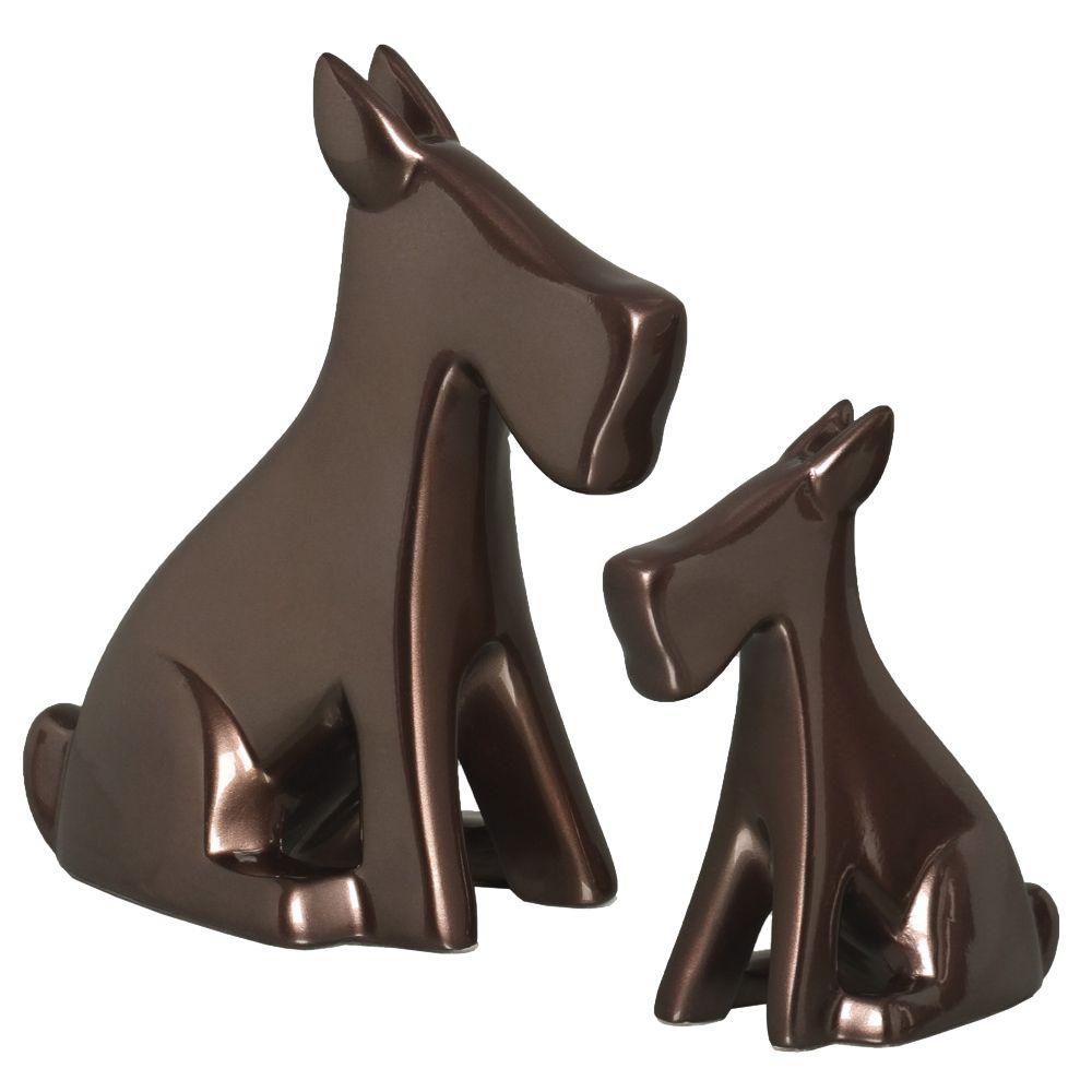 Cachorrinho Decoração Cerâmica Dupla Escultura Enfeite Bronze