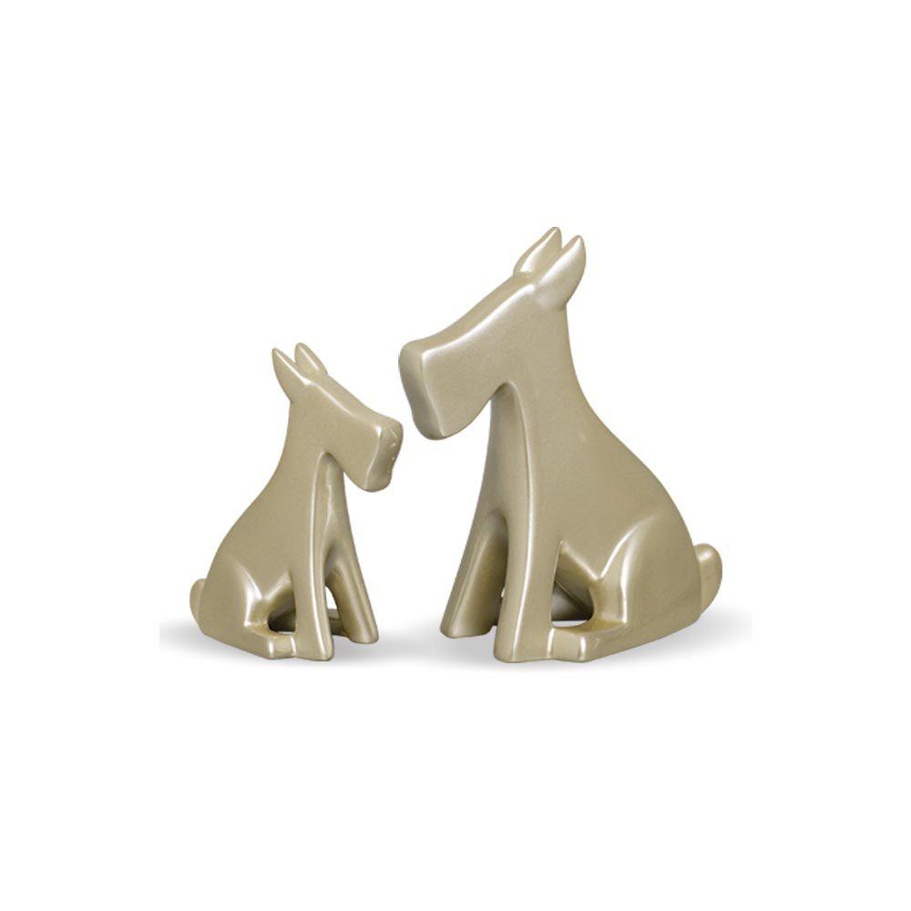 Dupla Escultura Cachorrinho Decoração Em Cerâmica Fendi Chrome