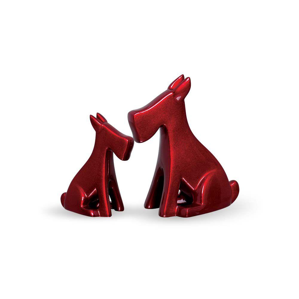 Enfeite Cachorrinho Decoração Cerâmica Vinho Scarlet Dupla