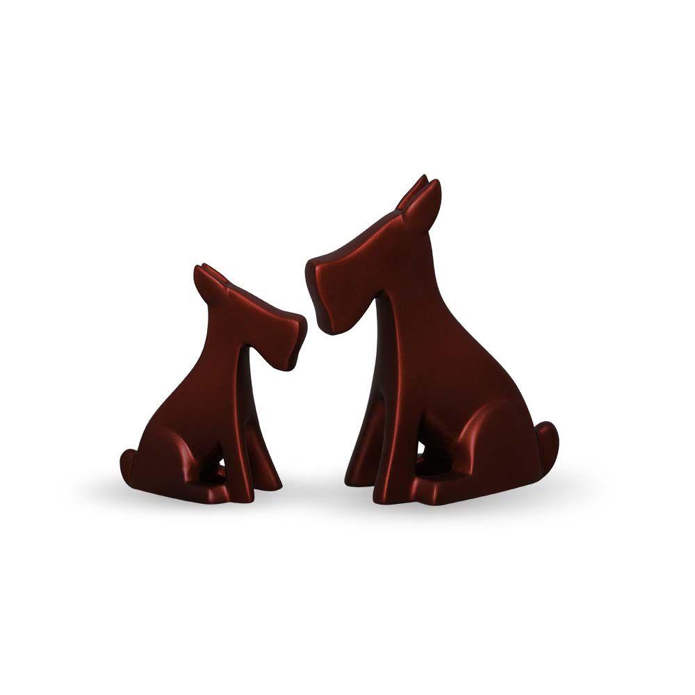 Dupla Esculturas Cachorrinho Cerâmica Vinho Fosco Sensation