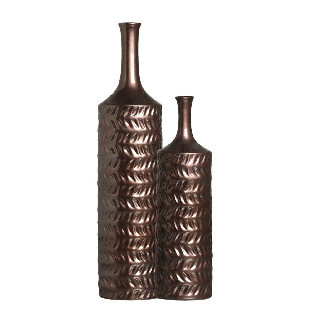 Dupla Garrafa Decorativa Ágata Decoração Em Cerâmica Bronze