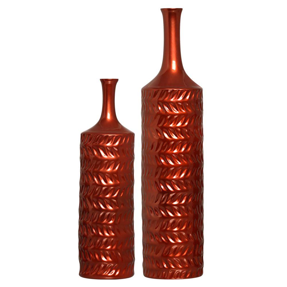 Dupla Garrafa Decorativa Ágata Decoração Em Cerâmica Cobre Coral