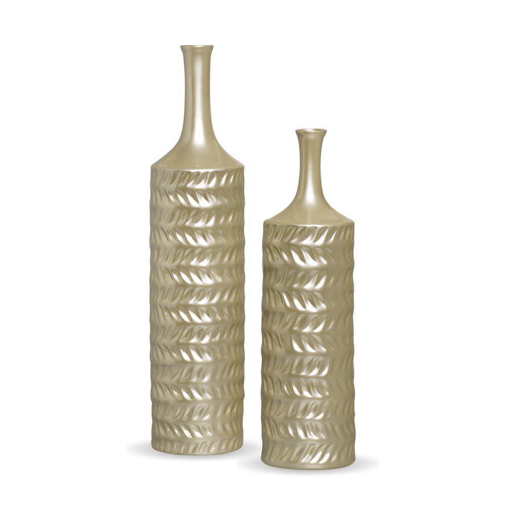 Dupla Garrafa Ágata Decoração Cerâmica Enfeite Mesa Fendi Chrome