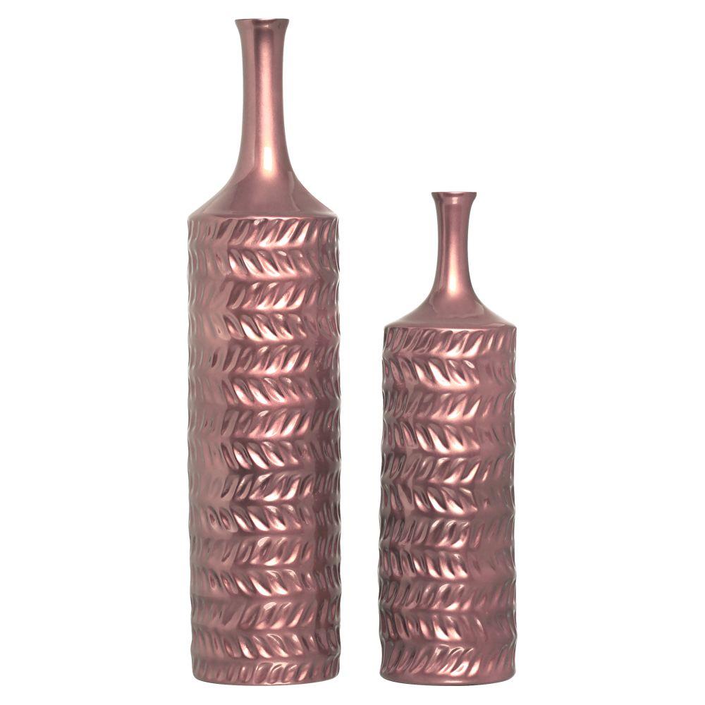 Garrafas Ágata Decoração Cerâmica Enfeite de Mesa Rosé Gold