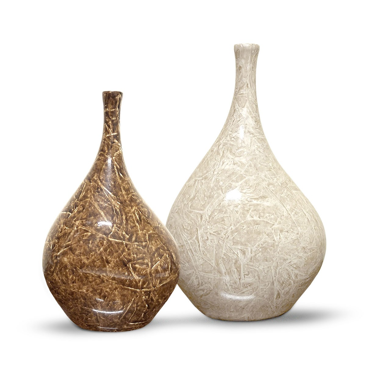 Dupla Garrafa Cristal Decoração em Cerâmica Bege e Marrom Petra