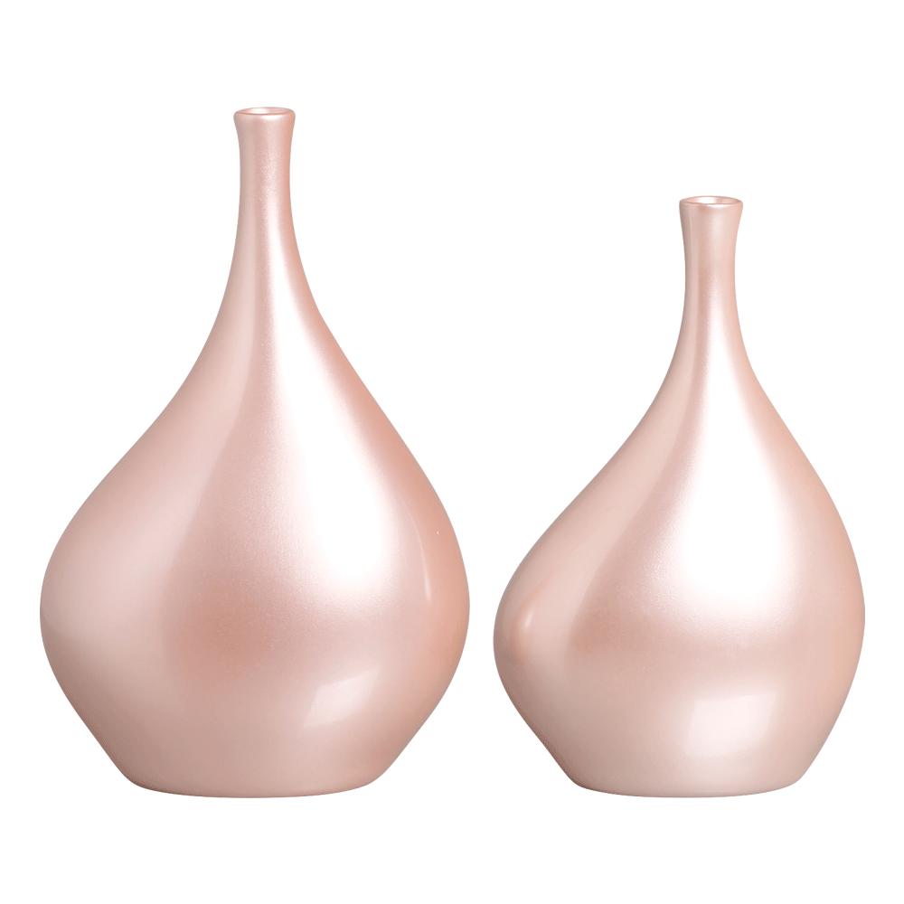Dupla Garrafa Cristal Decoração em Cerâmica Rose