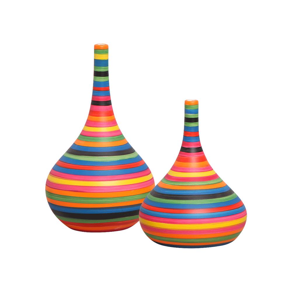 Dupla Garrafa Decorativa Jasmim M e P Cerâmica Colors