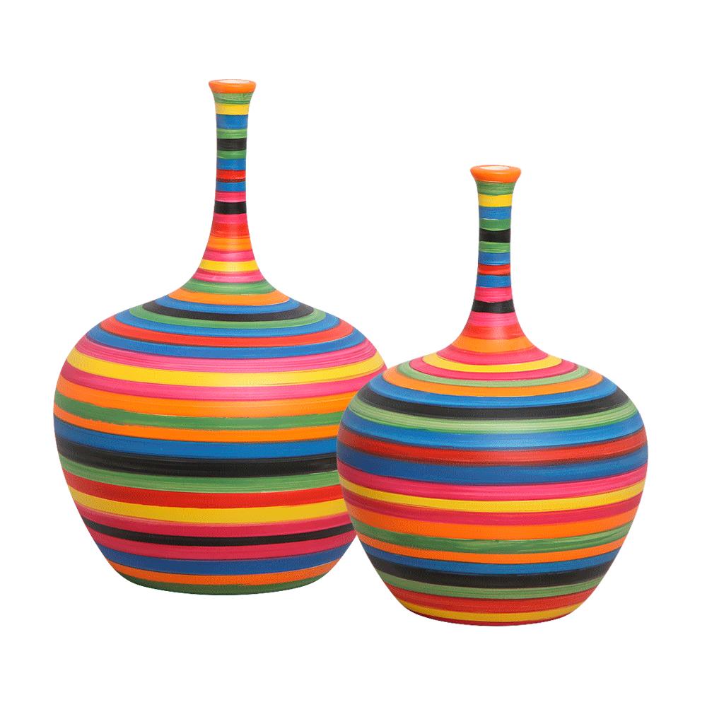 Dupla Garrafa Decorativa Lira Decoração Cerâmica Colors