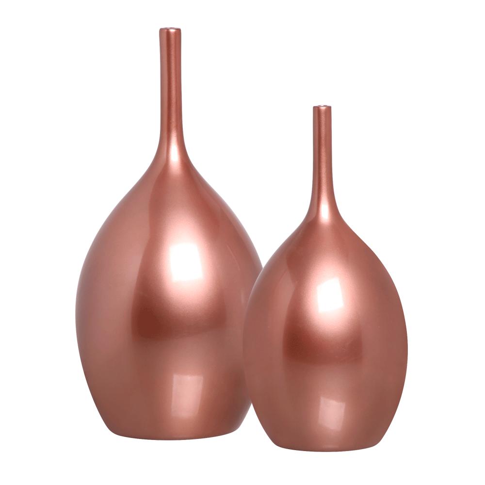 Dupla Garrafa Vaso Luna Decoração em Cerâmica Rosé Gold