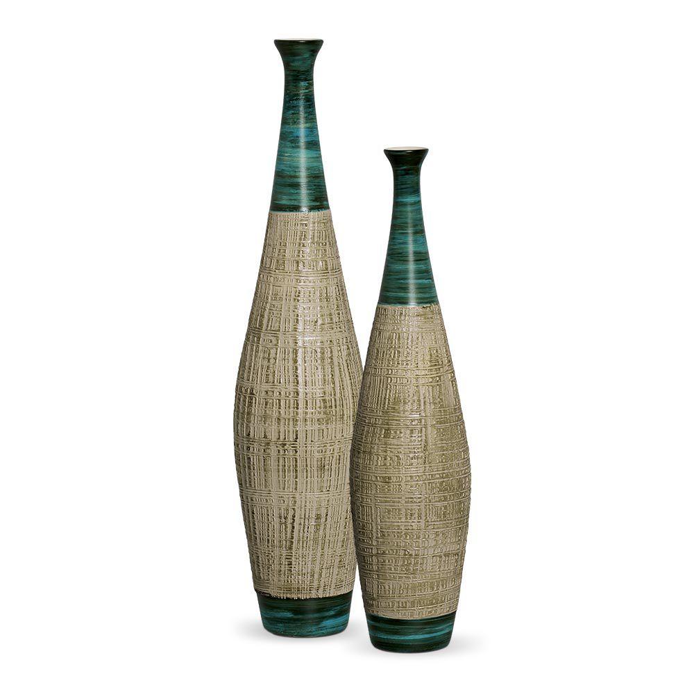 Dupla Garrafa Faenza Decoração Em Cerâmica Verde e Palha Ganash