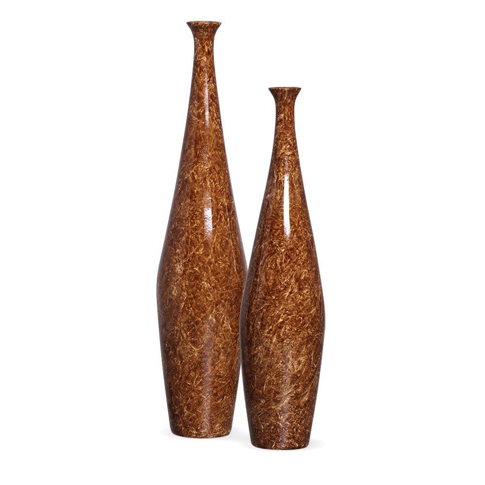 Dupla Garrafa Faenza Marrom Cerâmica Marmorizado Petra