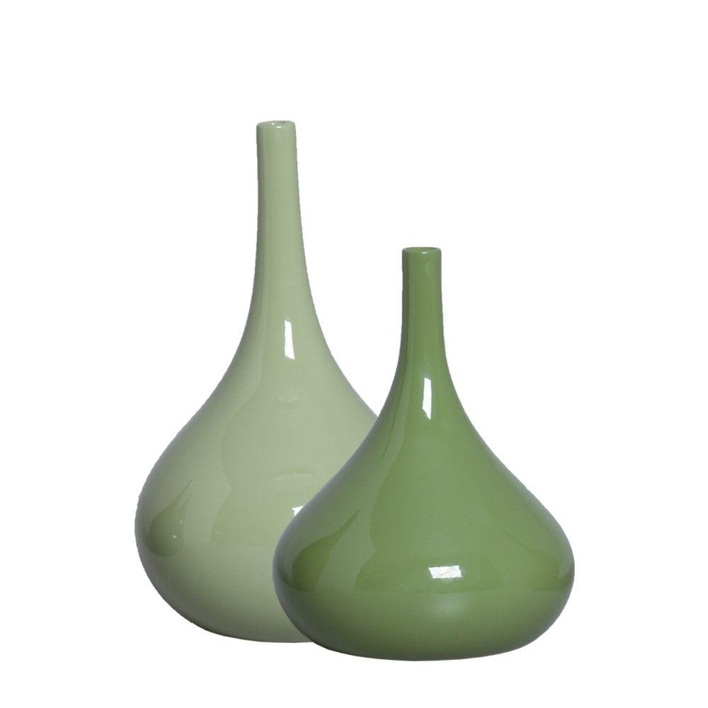 Dupla Garrafa Decorativa Jasmim Decoração em Cerâmica Verde
