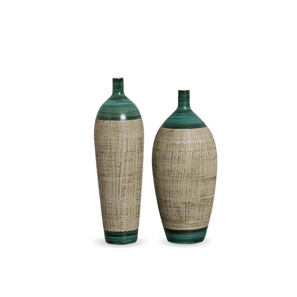 Garrafa Lisboa Kit Decoração Em Cerâmica Verde E Palha Dubai