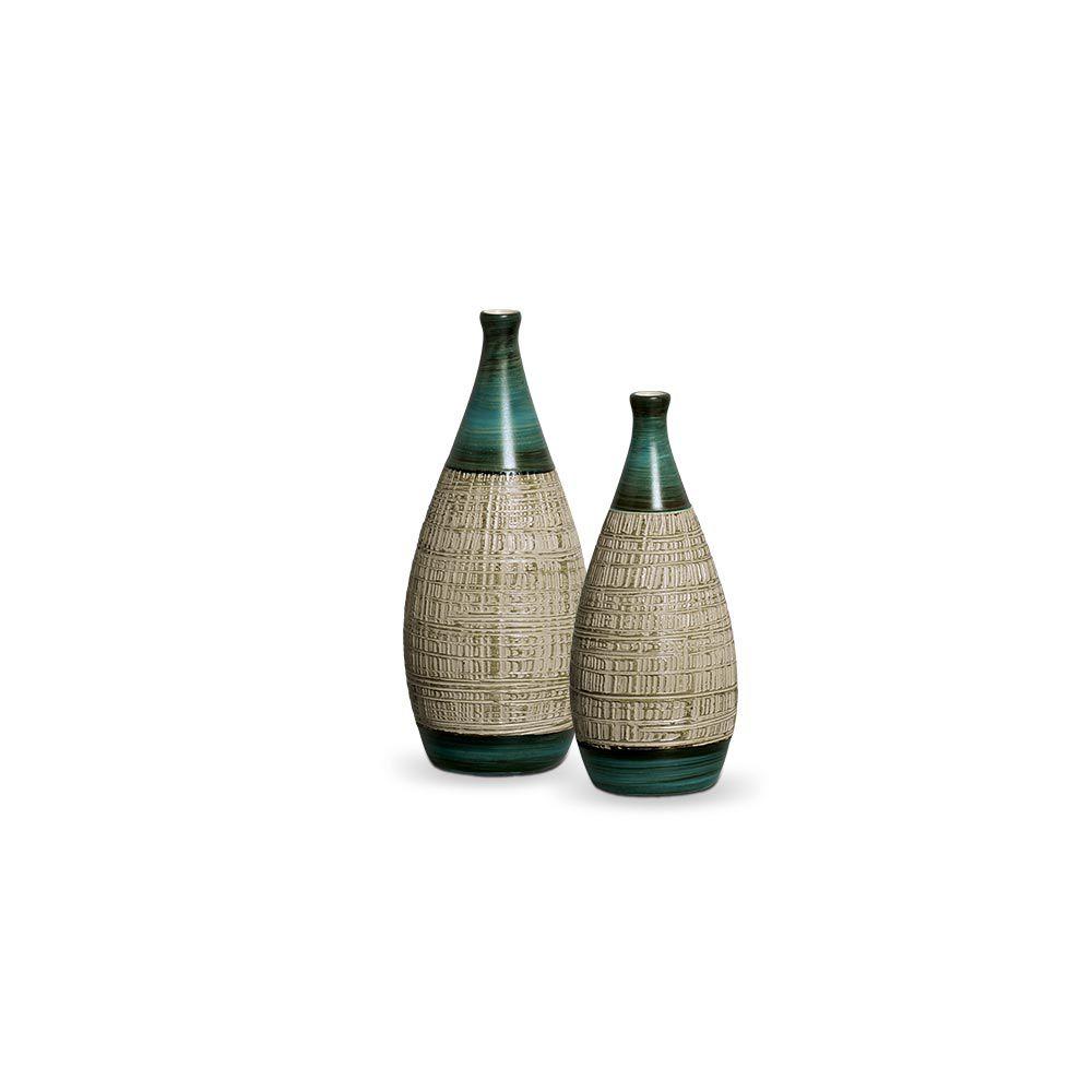Dupla Garrafa Mel Decoração em Cerâmica Verde e Palha Dubai