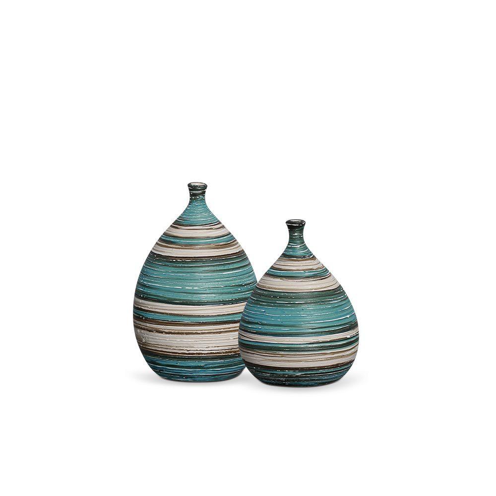 Dupla Garrafa Mimo Decoração em Cerâmica Azul e Palha Marrakesh