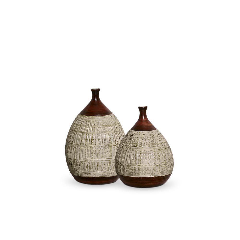 Dupla Garrafa Mimo Decoração Em Cerâmica Marrom e Palha Ganash