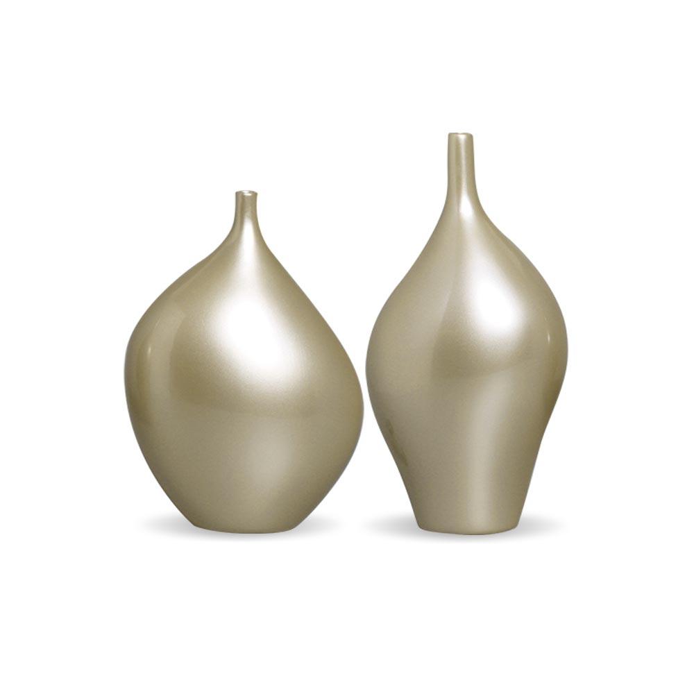 Dupla Garrafa Munique Vaso Decoração Em Cerâmica Fendi Chrome