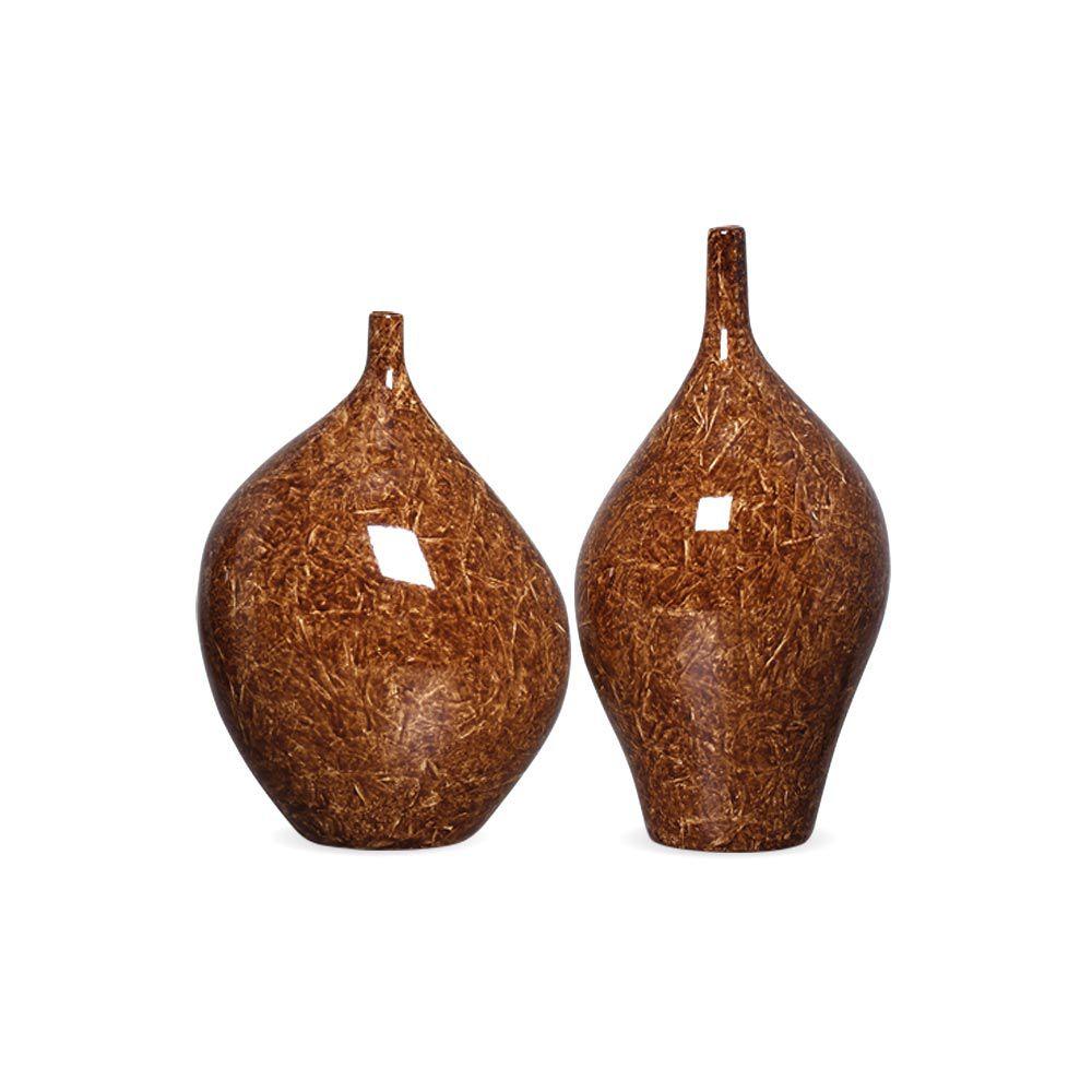 Dupla Garrafa Vaso Munique Marrom Cerâmica Marmorizado Petra