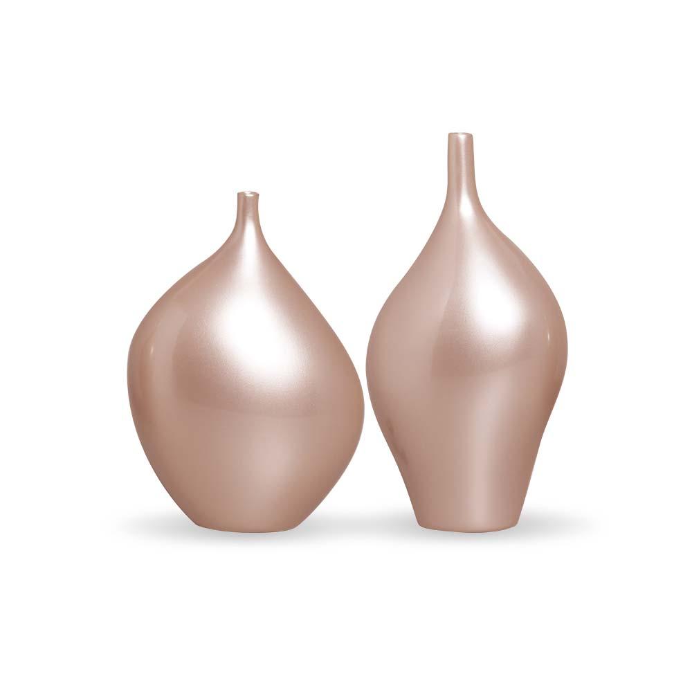 Dupla Garrafa Munique Vaso Decoração Em Cerâmica Rose