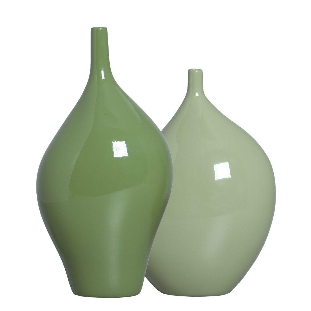 Dupla Garrafa Decorativa Munique Decoração em Cerâmica Verde