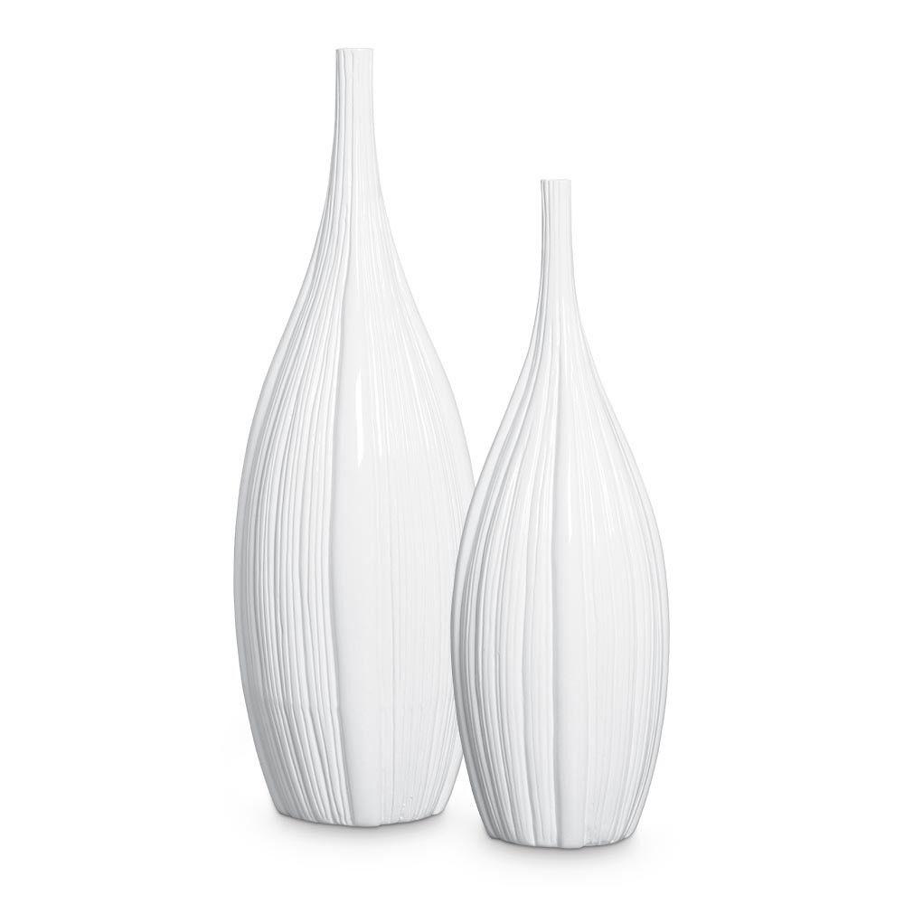Dupla Garrafa Chão Sevilha Decoração Cerâmica Clássica Branca
