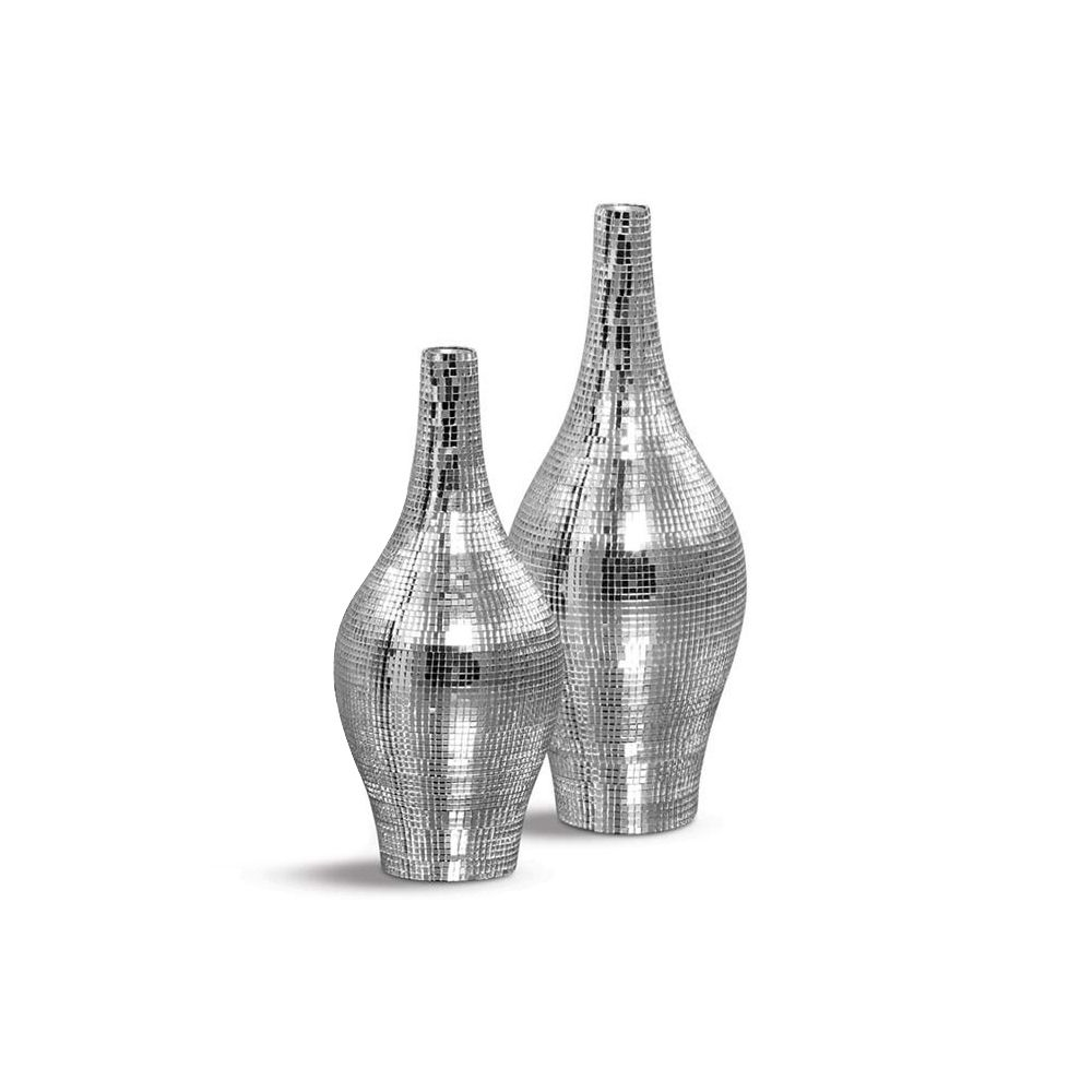 Dupla Garrafa Styllo Vaso Decoração Em Cerâmica Espelhada Shine