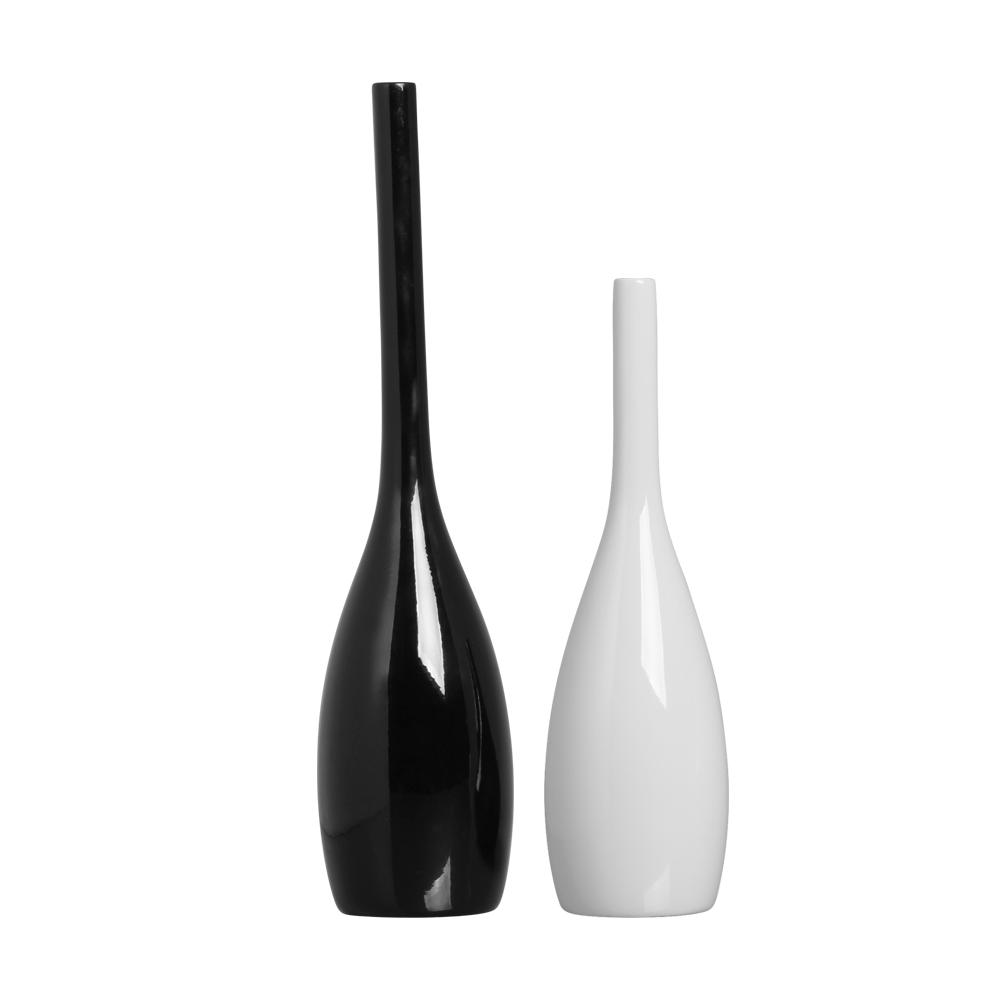 Dupla Garrafa Tulipa Decoração Cerâmica Preto E Branco