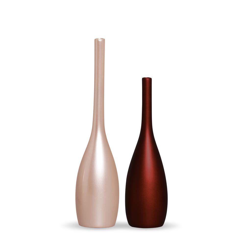 Dupla Garrafa Tulipa Decoração Em Cerâmica Rose e Vinho Sensation e Rose