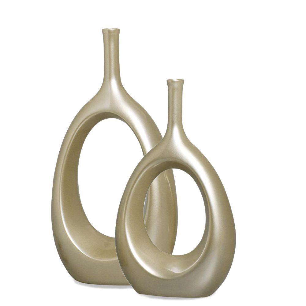 Garrafa Vazada G E M Decoração Em Cerâmica Kit Fendi Chrome