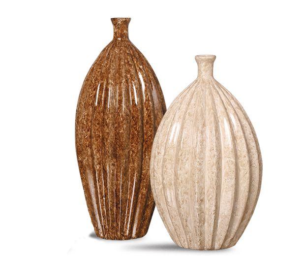 Dupla Garrafa Viena G E M Decoração Em Cerâmica Marrom E Bege Petra