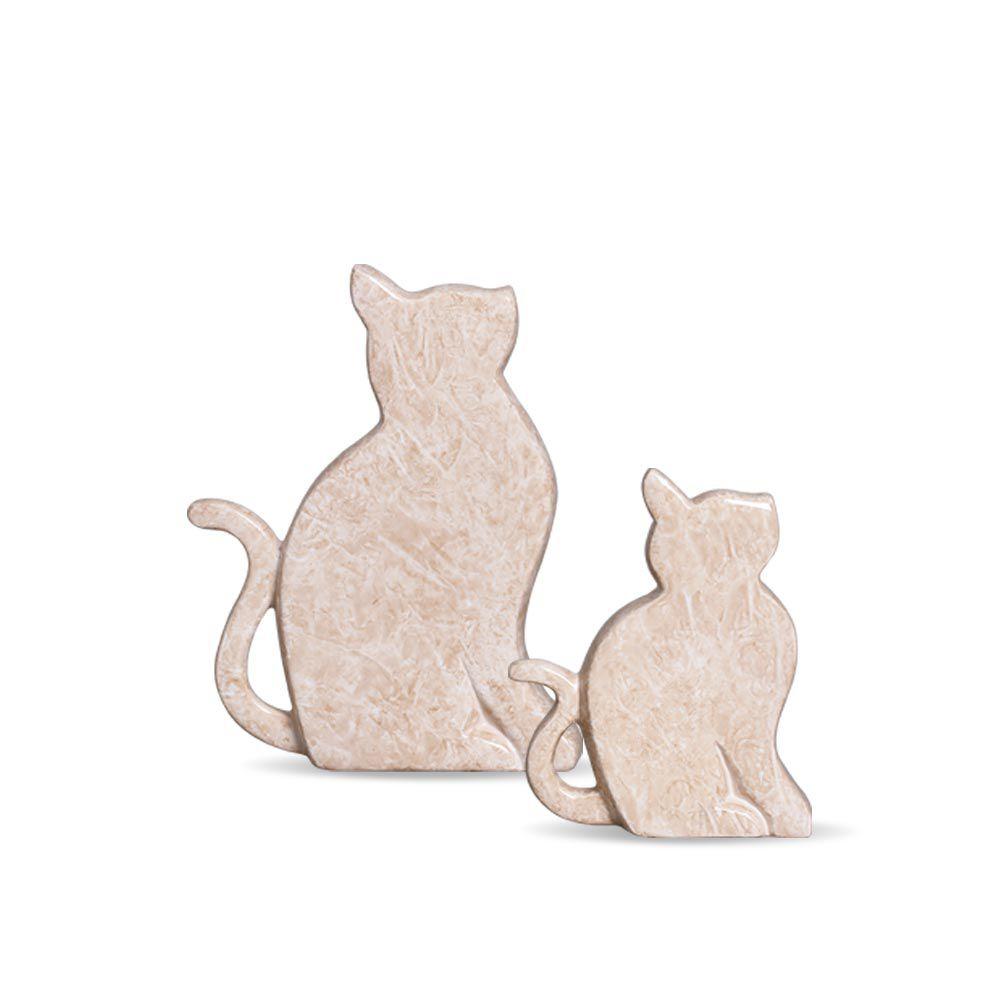 Dupla Gatinhos Decoração Em Cerâmica Bege Petra