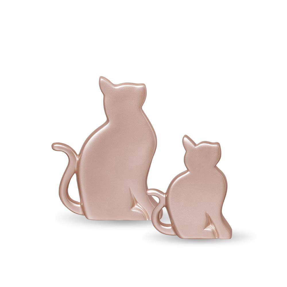 Dupla Gatinhos Decoração Em Cerâmica Rosé