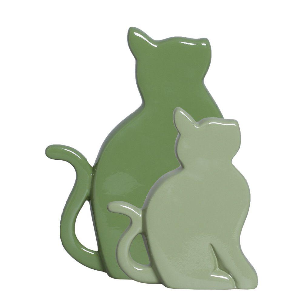 Gatinhos G E P Enfeite De Mesa Decoração Pet Cerâmica Verde