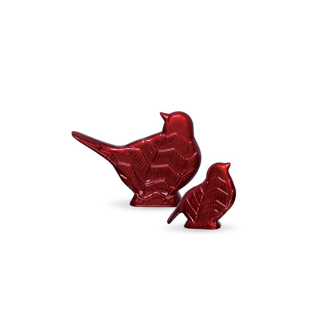 Passarinhos Vinho G e P Decoração em Cerâmica Scarlet