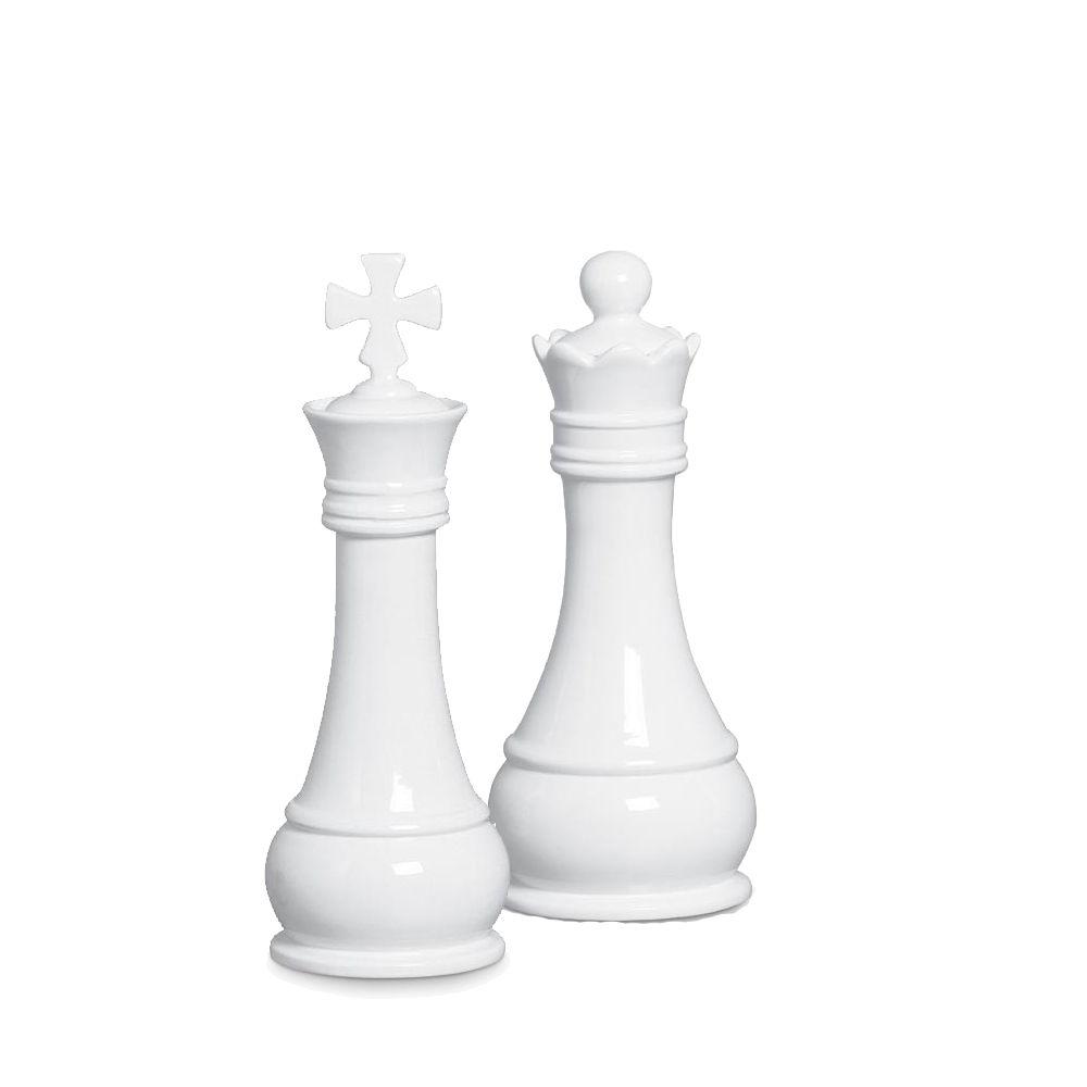 Dupla Peças Rei E Rainha Xadrez Decoração Clássica Branca
