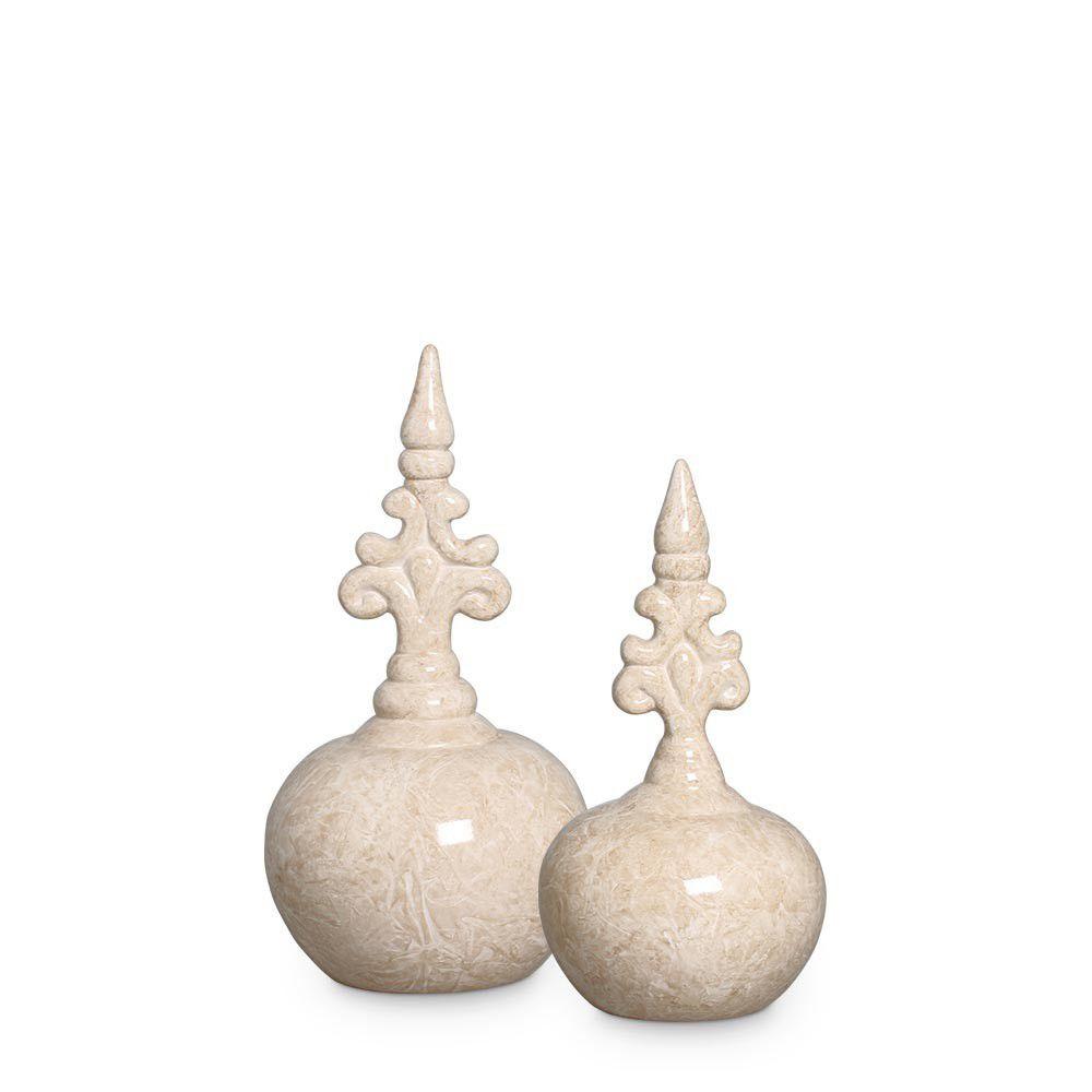 Dupla Pote Bojudo Bege Decoração Cerâmica Marmorizada petra